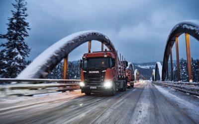 Snö i massor omringade Scania Winter drive